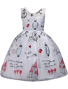 Vestido Estampado de Niñas Tul Vestidos para niños Imprimir Princesa Sin mangas Cóctel Vestido