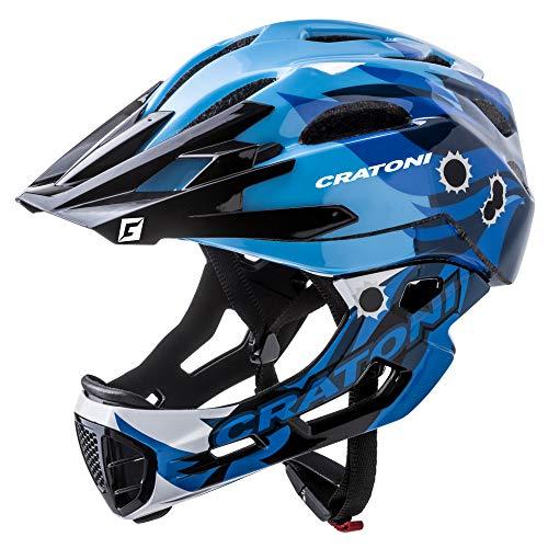 C-Maniac Pro Fahrradhelm Downhill Fullfacehelme Kinnbügel Mountainbikehelm (blau, M-L (54-58 cm))