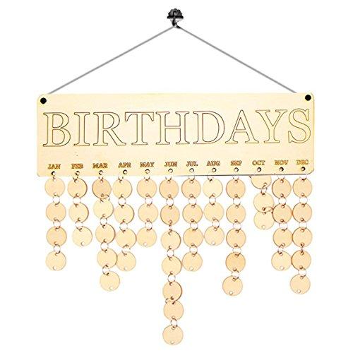 ROSENICE Familie Freunde aus Holz Kalender Board Plaque Zeichen Geburtstag Reminder Home Decor (Kalender Zeichen)