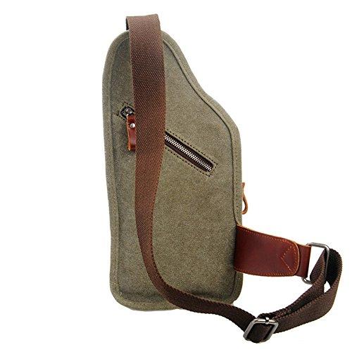 GSPStyle Unisex Canvas Leder Tasche Brusttasche Herrentasche Freizeit Stil Schultertasche Sporttasche Grün
