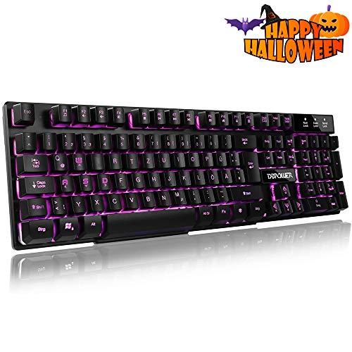DBPOWER Gaming Tastatur, 105 Tasten 3-Farbige von