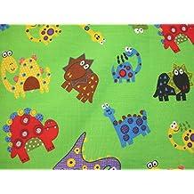 The Craft Junction infantil, diseño de Whimsical dinosaurio Impresión tela de polialgodón Craft Costura Costura–por medio metro) (verde)