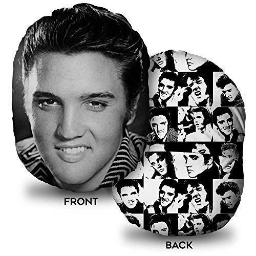 L&S PRINTS FOAM DESIGNS Elvis Presley Schwarz & Weiß mushcush Kissen Oval geformtes Kissen Reisen Zubehör (Elvis Presley-stoff)