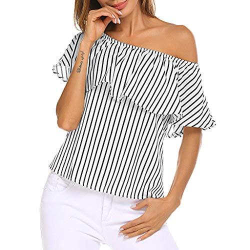 Streifen-rüschen-bluse (WHSHINE Damen Sommer T-Shirt Locker Streifen Print Off Shoulder Rüschen Elegant Bluse Oberteil Ärmellos Carmen Bluse T-Shirt Casual Damenbluse Tops)