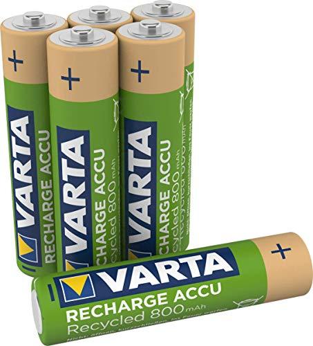 Varta Batteria Ricaricabile AAA MiniStilo, 800 mAh, Confezione da 6 Pezzi, Pre-caricate, Pronte all'Uso