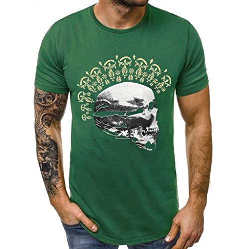 Camiseta de Manga Corta para Hombre Calaveras Impresos Originales...