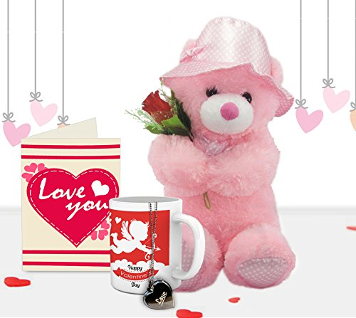 TiedRibbons® Gift For Valentine Combo(Teddy, Coffee Mug,Locket with Chain, Artificial Rose and Greeting Card)