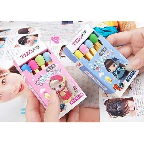material para la escuela kawaii Kawaii Tizo 8 Colores Partidos Sticks Borrador en Azul o Rosa Caja