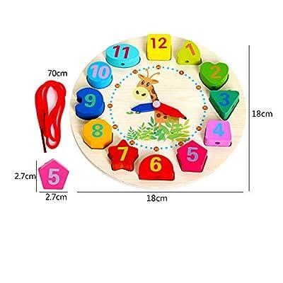 ??LILICAT Éducatif Bébé Horloge En Bois Perlé Perles Jouet Enfant Infantile Intelligence Jouets Bloc De Construction Perlé Horloge En Bois Perlé Puzzle Jouet (Multicolore)
