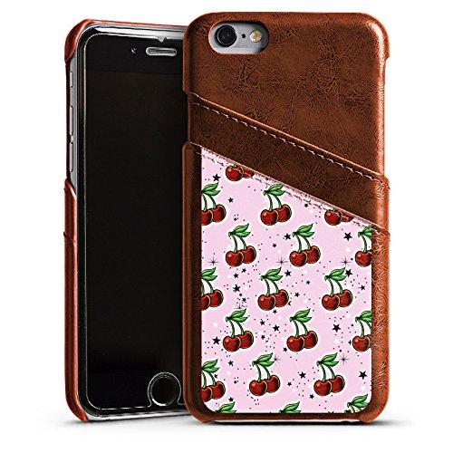 Apple iPhone 4 Housse Étui Silicone Coque Protection Cerises Motif Motif Étui en cuir marron