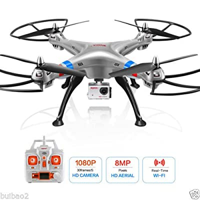 Buibao Syma X8G 2.4Ghz 4CH RTF RC Quadcopter Drone with 8MP HD Camera Headless