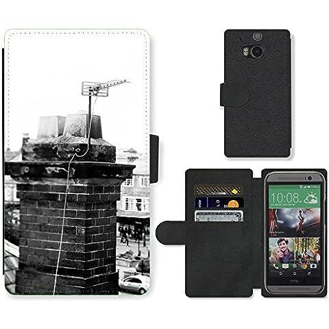 PU Billetera de Cuero Caso Titular de la tarjeta Carcasa Funda para // M00158141 Vecchio camino di mattoni Architettura // HTC One M8 - 1 M Camino