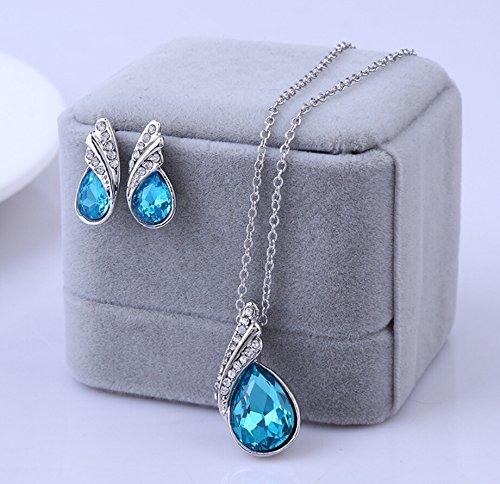 Cloud-Y Meilleur Cadeau/ Swarovski Element Parure Collier et Boucles d'Oreilles Plaque Argent en Zirconia pour Femmes/ Bijoux set Fantaisie Bleu