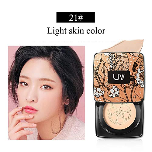 Allouli Cushion BB Cream Foundation Makeup with Small Mushroom Head Brush Concealer Medium Cover Blemishes -