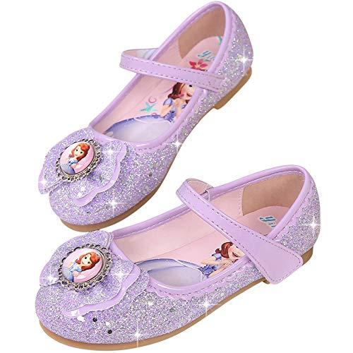 (FStory&Winyee Mädchen Prinzessin Schuhe Kinder Sofia Sandalen Partei Glitzer Kristall Schuhe Mädchen Kostüm Zubehör Karneval Verkleidung Party Aufführung Fasching Tanzball Groß 22-36 3-11 Jahre)