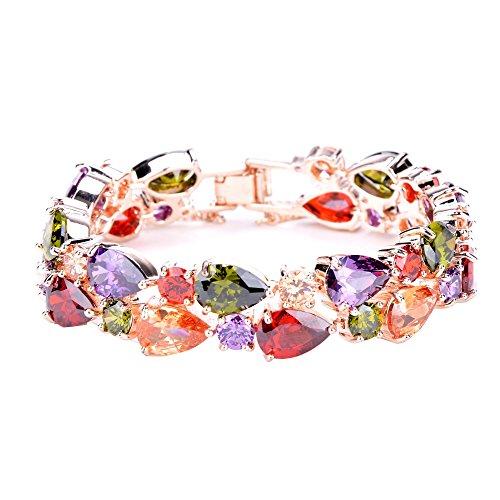 Aulei Regenbogen Armreif Kristall Schmuck Armband Bunte Modeschmuck Ketten (Kostenloser Versand Modeschmuck)