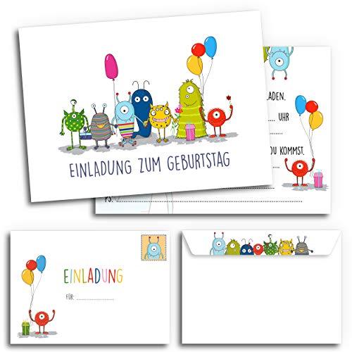 12x Geburtstagseinladungen mit Umschlägen | Monster-Party | Einladungskarten-Set für Kinder-Geburtstag | Für Jungen & Mädchen | Einladung niedlich süß lustig | Baby Junge | Luftballon bunt weiß cool