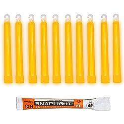 Cyalume Barras de luz naranja SnapLight 15cm, 6 inch super brillante con duración de 12 horas (Caja de 10)
