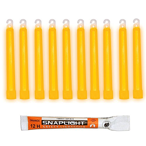 Cyalume SnapLight Knicklichter in Orange (10-er Pack) - 15 cm Glow Sticks mit Haken am Ende - ultra helle Light Sticks mit einer Leuchtdauer von 12 Stunden