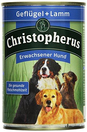 Christopherus Alleinfutter für Hunde, Nassfutter, Erwachsener Hund, Geflügel/ Lamm, Fleischmahlzeit 400 g