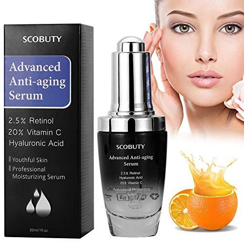 Retinol Serum, Anti Aging Serum - 2.5% Retinol, 20%Vitamin C, Hyaluronsäure Serum, Bestes Anti-Aging, Anti Falten Straffendes Serum für...