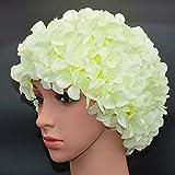 medifier Vintage Blumenmuster Retro Badekappe Badehaube für Damen, lichtgrün
