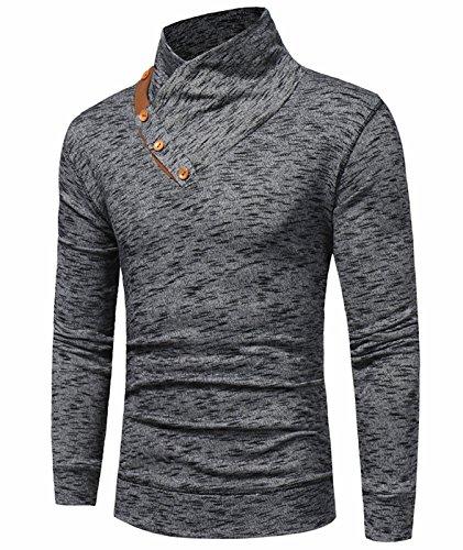 Fair-isle-rollkragen-pullover (Idol Herren Oblique Bottom Rollkragen Slim Fit Pullover T-Shirts)