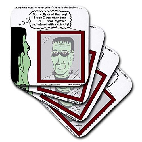 3dRose Reichhaltige Diesslins Funny General Cartoons-Halloween-Frankenstein ist Nicht A Zombie-Untersetzer, Keramik, set-of-4-Ceramic (Halloween Frankenstein Cartoon)
