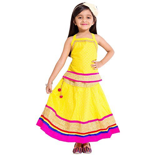 Disha Beautiful Kid's wear Solid Pattern border work Lehenga Choli Top &...