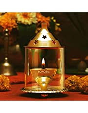 Decorate India Brass Medium Akhand Diya Molded Glass with Boroslicate Glass (12 cm Height) only On Decorate India 8x8x12 cm