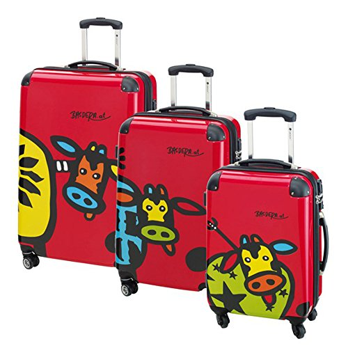 Trolley Set Kuhliane und Familie 3teilig Rot inklusive TSA Zahlenkombinationsschloss mit integriertem Adressfach