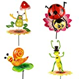 #3: Wonderland , Set of 4, Colorful Plastic Garden Sticks in ladybug , Grasshopper , Snail and Frog