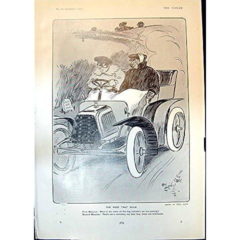 Impresión Antigua del Paso de Cecil Aldin del Humor Que Mata a Señora Eden Birds 1904 de los Motoristas