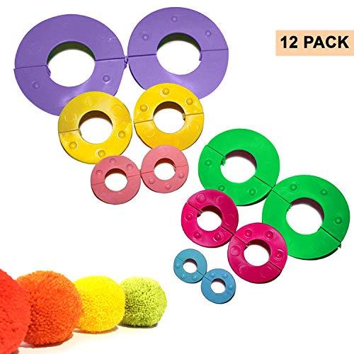Kit Hacer Pompones 12 Piezas Plástico con Tamaños Variados por Curtzy -...