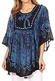 Sakkas 17030 - Lynda Two Tone Batik Gestickter Palme Peasant Top/Poncho - Blau - OS