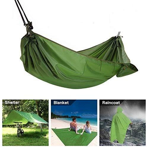 Multifunktions Camping Hängematte, 4 in 1 Outdoor Camping Hängematte - Wasserdicht Hängematte Regen Fly Zelt Plane - Camping Decke - Regenmantel für Outdoor Aktivitäten
