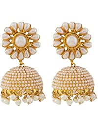 Meenaz Ethnic Gold Plated Pearl Jhumka /Jhumki For Women