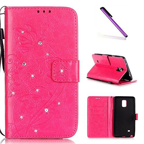 e 4 Case Glitzer Bling Diamant Schmetterling Flip Leather Leder Schutzhülle Ledertasche Lederhülle Handyhülle Hülle für Samsung Galaxy Note 4,Rose Butterfly with Diamond ()