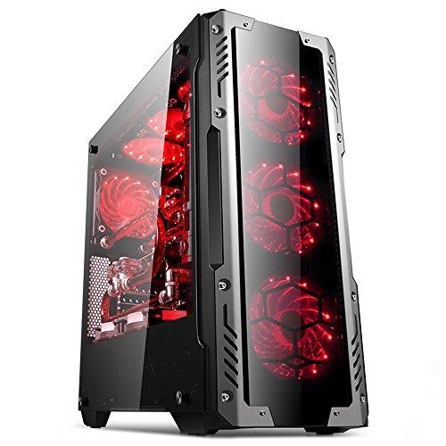 GOLDEN FIELD - Z2 ATX / Micro ATX / ITX Mid-Tower PC Gaming Gehaeuse Computer Gehäuse mit Seitenfenster für Desktop-PC