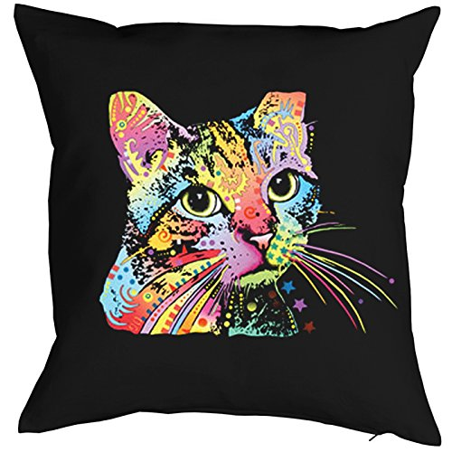 Goodman Design  Kissen komplett mit Füllung, Dekokissen, Sofakissen mit bunter Katze - Catillac New