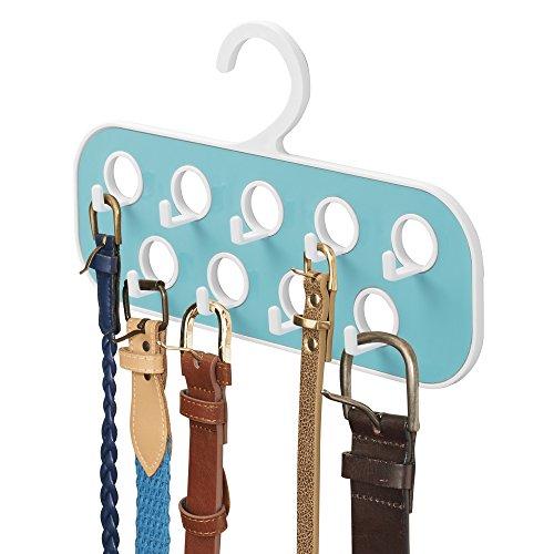 mDesign Portacinture con 9 Ganci Pratico Organizer da usare anche come Porta Collane e Porta Borse per Armadio Appendi tutti i tuoi accessori Colore