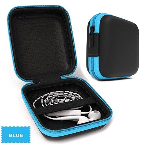Foto de Lucklystar® Funda para Auriculares Mini Bolsa Almacenamiento para Auriculares Accesorios para Auriculares para iPod Shuffle, auriculares, tarjetas de memoria, USB Flash Drive y el filtro de la lente(Azul)