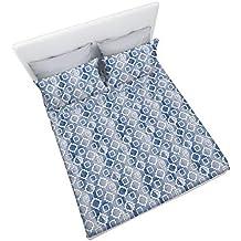 GOGOSTYLE Elvira - Completo Letto Stampato in Microfibra Fantasia azulejo, Singolo, Disegno Marrakech Blu - Geometrico Damasco
