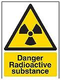 vsafety Schilder 6a028an-r Gefahr radioaktive Substanz Achtung Substanz und chemische Zeichen, 1mm starrer Kunststoff, Hochformat, 150mm x 200mm x 200mm, schwarz/gelb