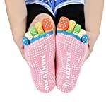 Supreme Women Men Anti-Slip Grip Workout Yoga Mix Color Feety Five Finger Pure Cotton Socks
