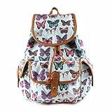 señoras, impresión de la mariposa, lona, mochila, bolsa de la escuela, azul