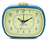 Best Vintage Alarm Clocks - Kikkerland ABS Retro Alarm Clock, Blue Review