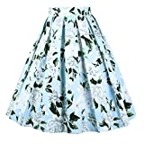 DresseverBrand Damen Rockabilly Rock A Linie Retro Rock Midi Swing Röcke Blue-White-Flower Medium