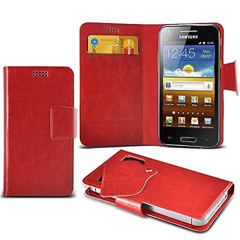 (Red) Samsung I8700 Omnia 7 Super dünne Kunstleder Saugnapf Wallet Case Hülle mit Credit / Debit Card SlotsBy