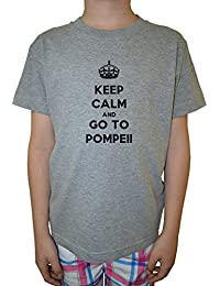 Keep Calm And Go To Pompeii Niño Niños Camiseta Cuello Redondo Gris Algodón Manga Corta Boys Kids T-shirt Grey